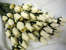ARTIFICIAL WEDDING FLOWERS FAVOURS IVORY CREAM OFF WHITE EVERLASTING WOODEN ROSE