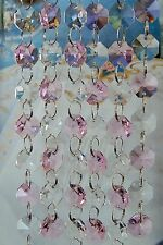 Pink and Clear- Lead Glass Crystal - Octagon Chandelier - Prisms Chains