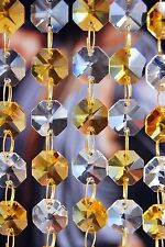 Light Amber and Clear - Lead Glass Crystal - Octagon Chandelier - Prisms Chains