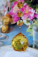 Two - Light Amber - Lead Glass Crystal - 40 MM Crystal Ball - Chandelier Prisms