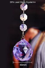 Two - Lilac - Lead Glass Crystal - 40 MM Crystal Ball - Chandelier Prisms