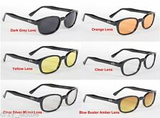 ORIGINAL KD'S BIKER SUNGLASSES FREE SOFT CASE BLACK FRAME ASSORTED LENS