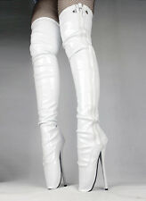 Thigh High Heel Ballet Boots WHITE LEATHER UK, SILICONE TOE GARD Every Size!