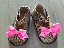 ADD-a-BOW Girls Leopard  SQUEAKY SHOES Toddler SIZES 4-8 leop add a bow shoes