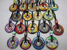 Hand Painted Pendant Necklace Ceramic Various Designs And Colours Peru Fairtrade