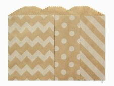 "30 Small Kraft Paper Bags, 2.75 x 4"",  Choose polka dots, chevron or diagonal"