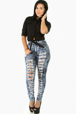 GITI ONLINE New Denim High-Waisted ACID Skinny Distressed Jeans Pants