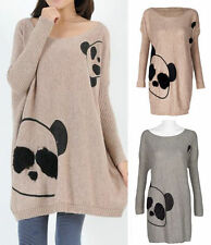 CHARMING PANDA PRINT RETRO VINTAGE LONG RUFFLE JUMPER KNITWEAR CARA FUR NEW WARM
