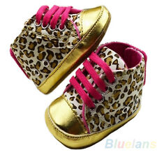 Cute Baby Girl Infant Toddler Leopard Gold Crib Shoes Walking Sneaker 3 Size B52