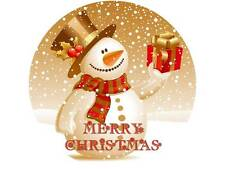 """7.5"""" SNOWMAN CHRISTMAS EDIBLE CAKE TOPPER ON ICING OR WAFER PAPER"""