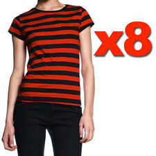 Womens Striped Shirt Black Red S M L Womens Punk Gothic T Stripe Tee ON SALE!