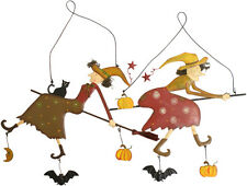 Halloween Witch Broomstick Pumpkin Bat Metal Wall Art Decorative Plaque 22cm