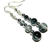 Silver & Glass Bead Earrings Gift Bag Black Blue Red Green Turquoise Ivory Pink