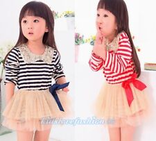 Baby Toddler Girls Striped Dress with Sequin Collar & Bow Blue,Red 12MONTHS-4T