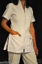 NEW Tuxedo Front Spa Salon Esthetician Jacket, White, XS/S and M/L available