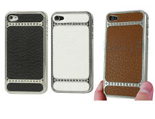 Deluxe Luxury Chrome Leather Bling Hard Case Cover For Apple iPhone 4S 4 4G