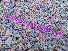 100 to 1000 White & Coloured Alphabet Mixed Letters Cube Beads 6mm