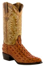 Men's crocodile alligator black leather western cowboy boots exotic rodeo riding