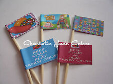 12 or 20 CUPCAKE FLAGS/TOPPERS - CANDY CRUSH or KEEP CALM PLAY CANDY CRUSH