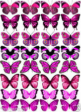 32 x MIXED PINKS Butterflies Various Designs Edible Decorations Cup Cake Toppers