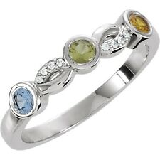 3 Round Birthstones Mothers Stackable Silver Ring, Mom's family Jewelry Gift