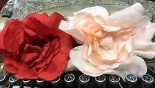 "VINTAGE silk  8"" TRUE RED  or PINK XLarge ROSE CZECH FLOWER 1pc"