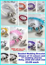 Wedding Bracelet-Any Colour- Any Charm- Any Size-Unique Exclusive-FREE Gift Bag