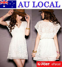 Korean Deep V Neck See-through Lace Tunic Mini Dress Tops Solid AU Local Postage