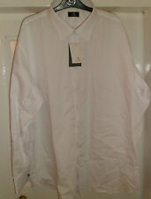 NEW MENS DRESS SHIRT WHITE WINGED OR STANDARD COLLAR 14.5 - 20.5  PLAIN FRONT