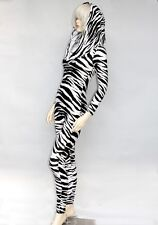 Hooded Zebra Spandex Unitard Leotard Catsuit Jumpsuit Black & White Long Sleeve