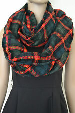 Women's Fringed Wrap Shawl Giant Check Plaid Tartan Scarf  Pashmina Super Large
