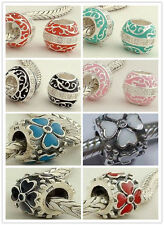 925 Sterling Silver Flower Leaf Enamel CZ Drum fit European Bead Charm Bracelet