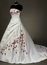 NEW Stock satin white with red embroidery wedding dress Size 6 8 10 12 14 16