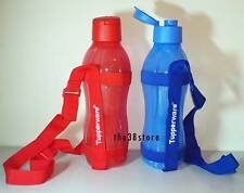 2 TUPPERWARE H2O On-The-Go Eco Water Drink Bottle 1L Flip Top Cap with Strap* RB