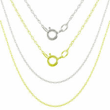 """Guaranteed 14K Solid White Gold / Yellow Gold Carded Rope Chain 0.9mm 16"""" 18"""""""
