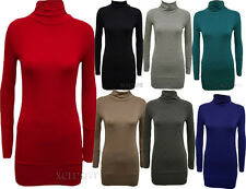 New Womens Plus Size Long Sleeve Polo Neck Tops Turtle Neck Slouch Tops