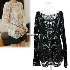 ESY1 Semi Women Embroidery Sheer Sleeve Floral Lace Crochet T-Shirt Top Blouse