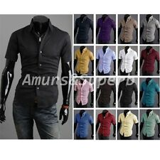 FASHION Mens Stylish Short Sleeve Casual Dress Shirt Slim Fit T-shirt