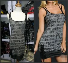 Cheap!Gray Sexy fishnet corset Punk Goth Rock Dress XS S M L