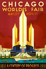 1933 CHICAGO World's Fair New Repro Vintage Poster Art Deco Modern Print 065