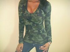 SEXY GREEN OLIVE ARMY CAMO CAMOUFLAGE STRETCHY LOW CUT CLEAVAGE TOP LS TEE GN101
