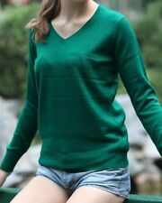 Women V-neck Winter Cashmere Sweater Grey/ Green/ Blue/Red / Charcoal/Cream/Navy