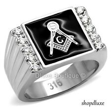 Men's Stainless Steel 316L AAA CZ Masonic Lodge Freemason Ring Band Size 8-14
