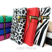 For Samsung Galaxy S II S2 Zipper Flip Wallet PU Leather Hybrid Case Cover Pouch