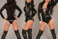 WOMENS BLACK PVC HOTPANTS ROMPER ZIP LEATHER CATSUIT DRESS BONDAGE SIZES 8 10 12
