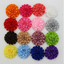 "50x 2"" Satin Cabbage Puff Flower Appliques Craft for Headband Bow Assorted Color"