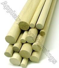 2-10 pcs Imperial Size Hardwood Dowel Rods 30cm (300mm) Long - Various Dia