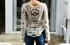 Sexy Women's Semi Sheer Sleeve Embroidery Floral Lace Crochet T-Shirt Top Blouse