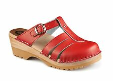 TROENTORP BASTAD SWEDISH WOODEN CLOGS - MARY JANE RED - MADE IN SWEDEN