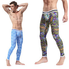 Men's Soft Long Johns Pants Thermal Pants Cotton Pattern Printed Underwear S-XL